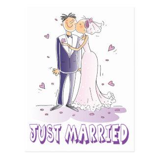 Postal Boda casado apenas del dibujo animado de la