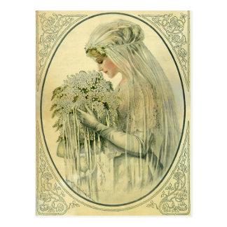Postal Boda del vintage, retrato nupcial de la novia del