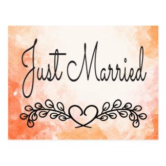 Postal Boda floral casado anaranjado de la acuarela