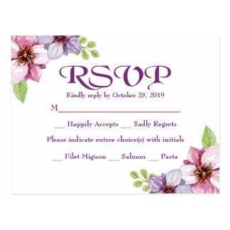 Postal Boda floral de la acuarela púrpura de RSVP