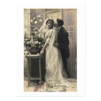 Postal Boda romántico del amor del vintage francés