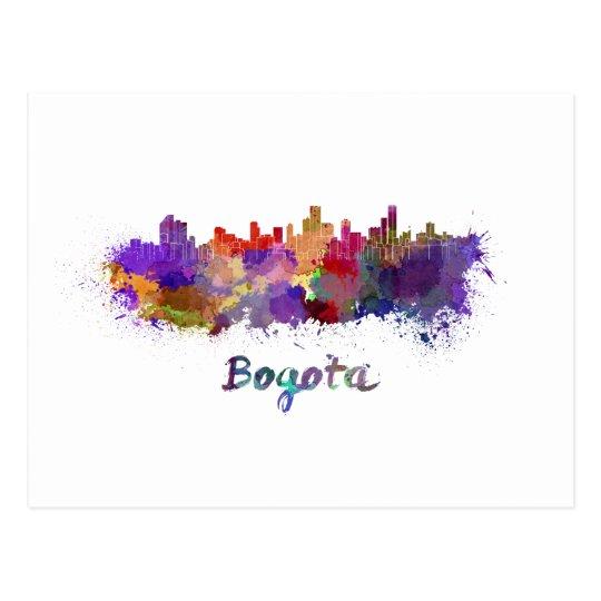 Postal Bogota skyline in watercolor