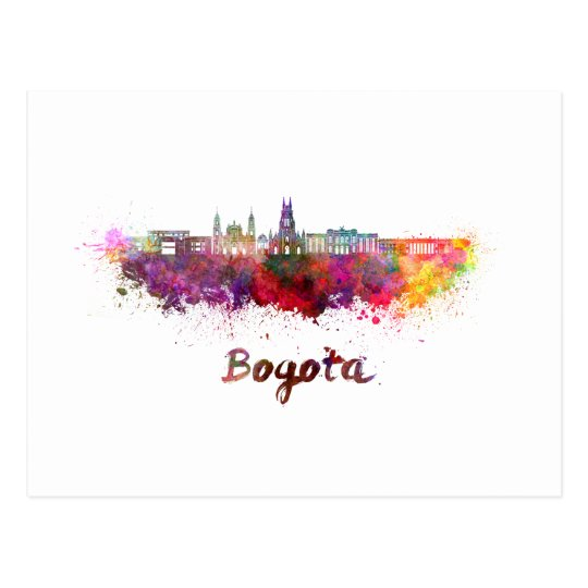 Postal Bogota v2 skyline in watercolor
