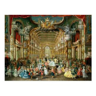 Postal Bola enmascarada en el Hoftheater, Bonn, 1754