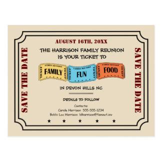 Postal Boleto de la reunión de familia de la diversión