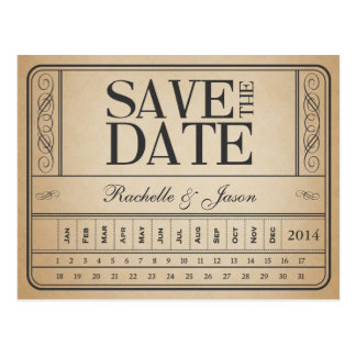 Postal Boleto II del vintage -- Ahorre la fecha perforan