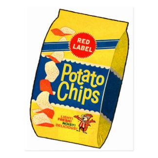 Postal Bolso retro de las patatas fritas de las patatas a