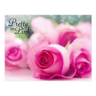 Postal Bonito en rosas rosados