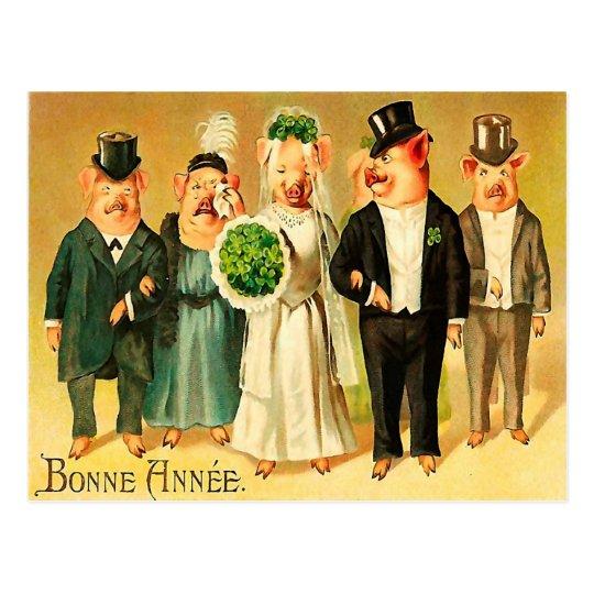 Postal Bonne Année - novia y novio con la familia