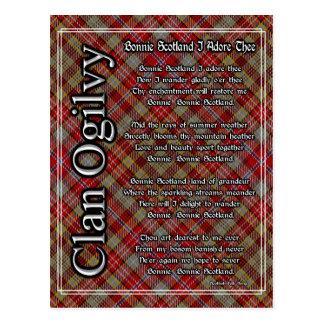 Postal Bonnie Escocia adoro el tartán de Ogilvy del clan