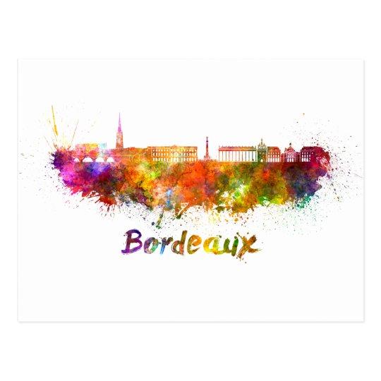 Postal Bordeaux skyline in watercolor