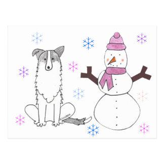 Postal Border collie y muñeco de nieve