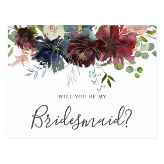 Postal Borgoña y voluntad floral azul usted sea mi dama