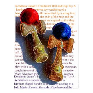 Postal Bosquejo de Kendama, rojo y azul del color de la