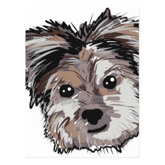 Postal Bosquejo de la cara del perrito del perro de