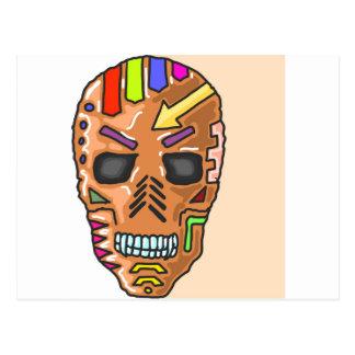 Postal Bosquejo pintado máscara del cráneo