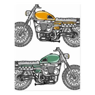 Postal Bosquejo retro del vector de la motocicleta