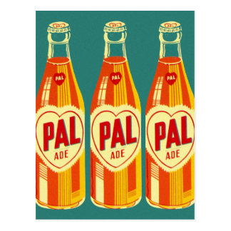 Postal Botella de soda de PAL de las bebidas del vintage