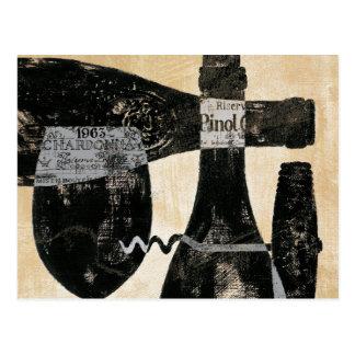 Postal Botella y vidrio de vino