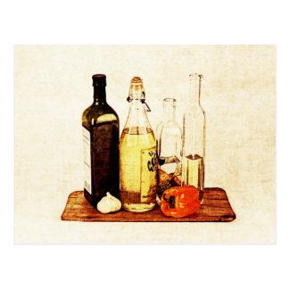 Postal Botellas de aceite del evoo y veggies verdes