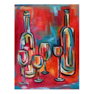 Postal Botellas y vidrios modernos abstractos de vino