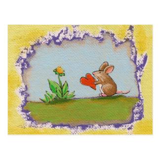Postal Brave al pequeño individuo - flor romántica del