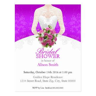 Postal Bridal Shower purple invitation