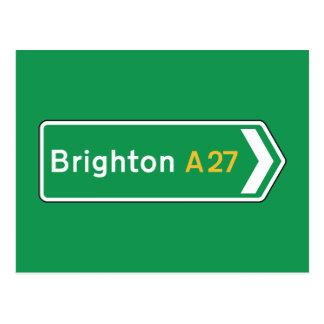 Postal Brighton, señal de tráfico BRITÁNICA
