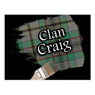 Postal Brocha escocesa del tartán de Craig del clan