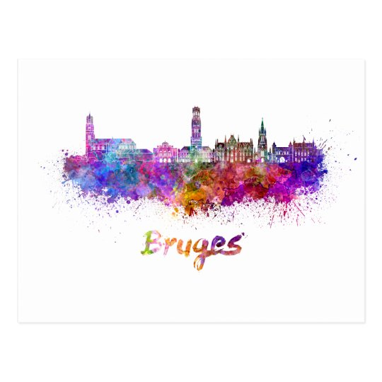 Postal Bruges skyline in watercolor