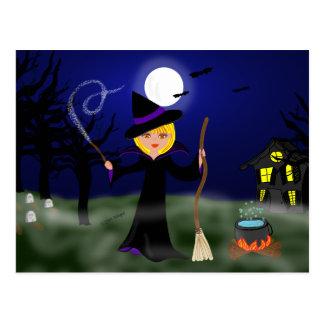 Postal Bruja de Halloween con la caldera