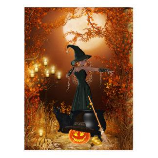 Postal Bruja de Halloween del otoño