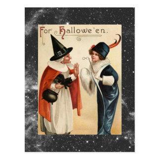 Postal Bruja de Halloween del vintage vieja y señora