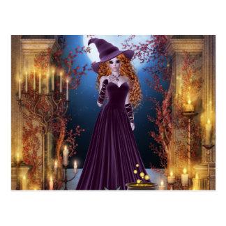 Postal Bruja de Halloween por luz de una vela
