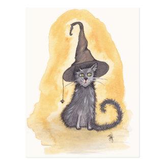 Postal Bruja del gatito de Halloween