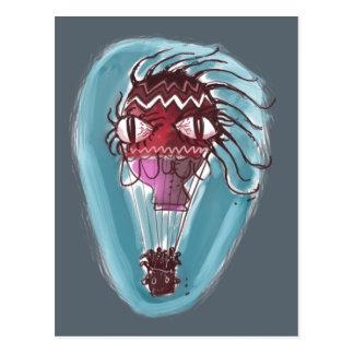 Postal bruja grande del rojo del ojo del baloon peculiar