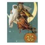 Postal Bruja pasada de moda de Halloween y la luna