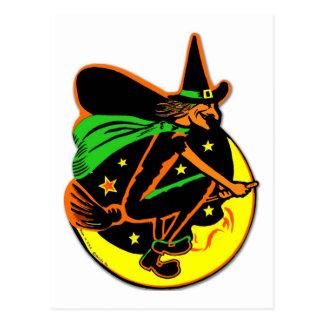 Postal Bruja traviesa de Halloween del kitsch retro del