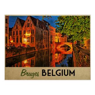 Postal Brujas Bélgica en la noche