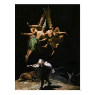 Postal Brujas de Francisco Goya- en el aire