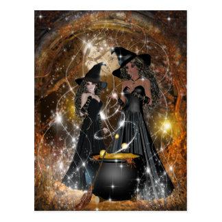 Postal Brujas de Halloween en negro