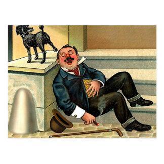 Postal BRUSCO DESPERTAR - arte del perro del vintage