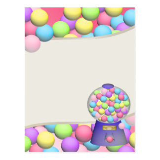 Postal Bubblegum Gumballs y máquina