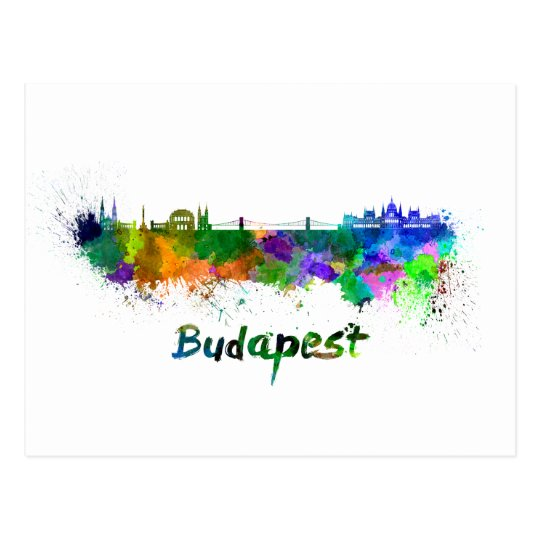 Postal Budapest skyline in watercolor