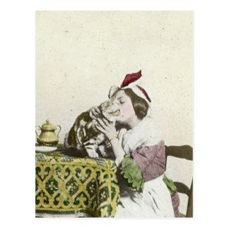 Postal Buena fiesta del té del Victorian del vintage del