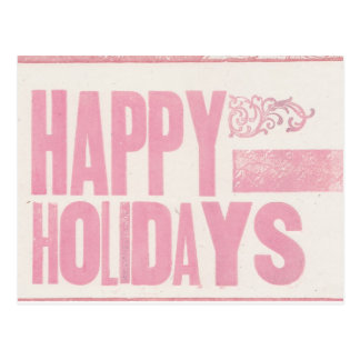 Postal Buenas fiestas rosa impreso prensa de copiar de la