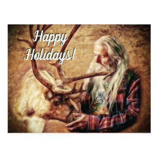 Postal Buenas fiestas Santa y reno por el mac de Shawna
