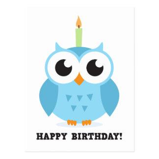 Postal Búho azul lindo con cumpleaños del dibujo animado