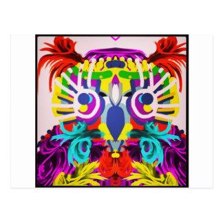 Postal Búho tribal con muchos colores