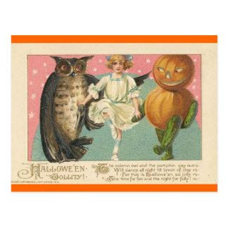 Postal Búho y goblin Halloween del vintage